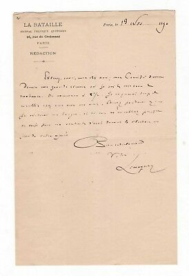 Pierre Lissagaray / Lettre Autographe (1890) / La Bataille / Commune De Paris
