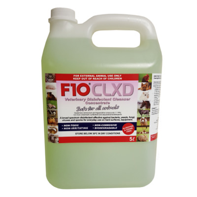 F10 CLXD 5L Concentrate Avian Bird Disinfectant Birds Cage Cleaner Pet Vet Safe