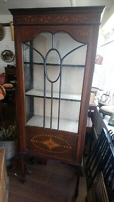 Antique Edwardian Glass Display Cabinet Handpainted Details