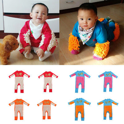 Newborn Baby Clothes Long Sleeve Crawling Mop Jumpsuit Boy Girl Romper One Piece