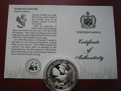 Samoa 1986 $10 Tala Silver Proof Coin WWF with COA Card - Samoan Fantail Bird