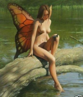 LMOP89 100% hand-painted MODERN ANGEL GIRL  OIL PAINTING on CANVAS wall ART