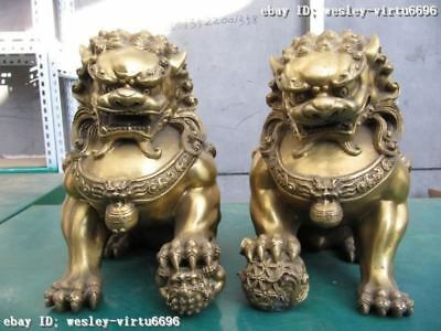 """11""""Chinese Pure Brass Carved Evil Door Guardian Fu Foo Dog Lion pair"""