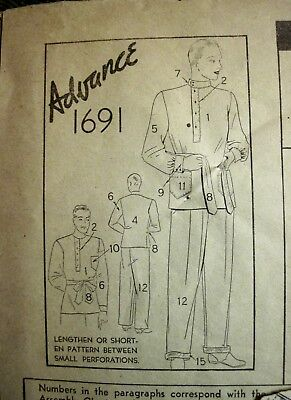"Vintage 1920's-30's Style Advance Men's Pajamas Pattern Sz Chest 46""-48"""