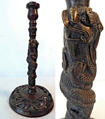 Heavy Antique Bronze Chinese Dragon Design Lamp Stand