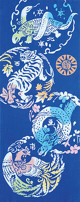 Japanese traditional towel TENUGUI TIGER DRAGON 4GOD BLUE COTTON MADE IN JAPAN