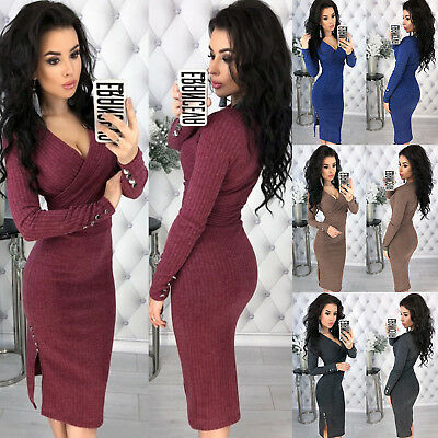 Damen Bodycon Kleid Strickkleid Wickelkleid Midikleid Etuikleid Stretchkleid 40