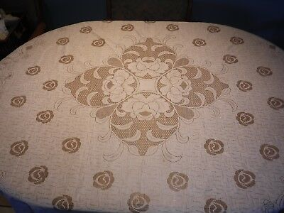 "White Lace Tablecloth 68"" Round Rose Pattern"