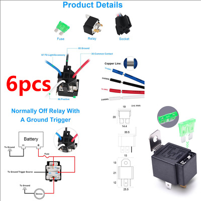 Terrific 6Pcs 12V 5 Pin Bosch Car Relay Switch Harness Set 30Amp Fuse 14Awg Wiring 101 Ferenstreekradiomeanderfmnl