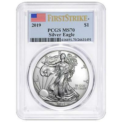 2019 $1 American Silver Eagle First Strike Flag Label PCGS MS70
