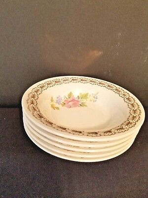 5 Vintage Wood Rose by Triumph Berry Bowls USA Limoges Warranted 22K Gold