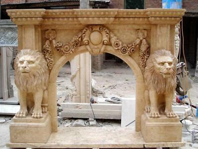 Masculine Hand Carved Marble Fireplace Mantel featuring Sculpted Lions #3808