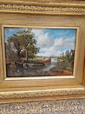 18th Century Style Painting Landscape Men Fishing M. Brandon