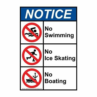 Vertical ANSI NOTICE No Swimming / Diving Sign with Symbol, 10x7 in. Plastic