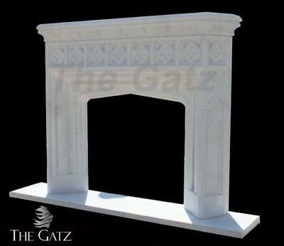 Gothic Inspired Hand Carved Marble Fireplace Mantel, Clean Design #3734