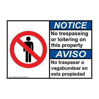 ANSI English + Spanish No Trespassing Sign, 14x10 in. Aluminum, Made in the USA