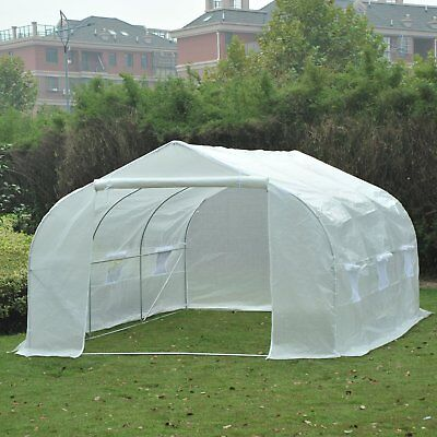 Outsunny 11.5'x10'x7' Plant Tunnel Walk-in Greenhouse Ventilation Garden PE