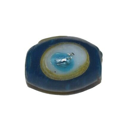 Antique Giant Blue Glass Islamic Eye Bead White & Yellow Lampwork Trade Bead