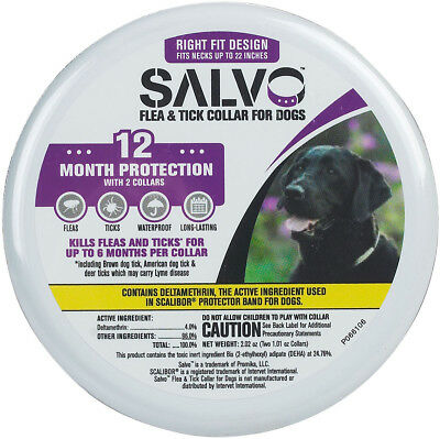 """Salvo Flea & Tick Collar for Dogs 2 Pack 12 Month Protection Up to 22"""" Neck"""