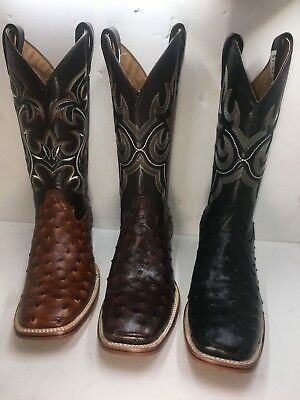 95645136e5a OSTRICH PRINT LEATHER Western Rodeo Square Toe Black Brown Men's Boots