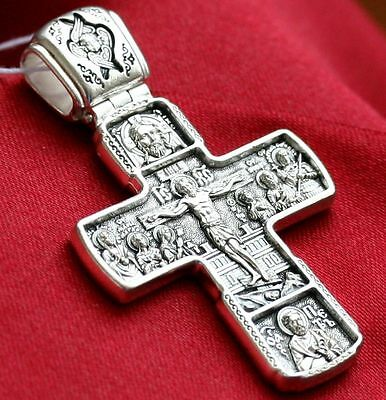 AUTHENTIC BIG RUSSIAN ORTHODOX BODY PRAYER CROSS SILVER 925.RARE CRUCIFIX 20g !