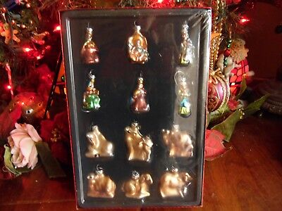 SET of 12 CHRISTMAS BLOWN MOLD GLASS ORNAMENTS NATIVITY & ANIMALS SEALED BOX