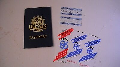 1986 World Exposition Vancouver Canada Passport Tickets/Stubs/Stamps