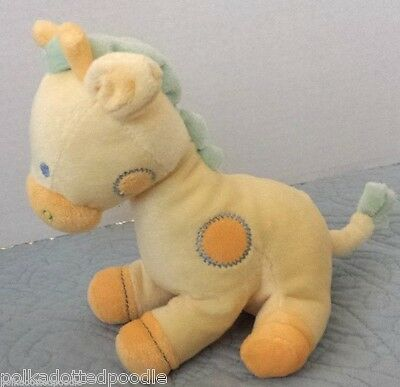 Prestige Baby Toy Yellow Blue & Green GIRAFFE Rattle stuffed animal plush toy