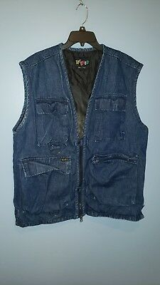 """Vintage 80s Wicked """"spirits of Peace Lined Denim Vest Size XL #1406"""