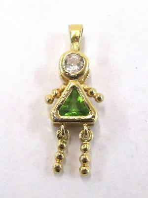 Gold Over 925 Sterling Silver Syn Peridot August Girl Daughter Pendant ~Sp2~