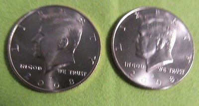 2008 p&d Choice Uncirculated Satin Kennedy Half Dollars From Mint Sets