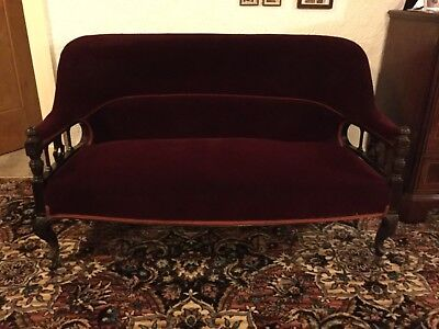 Victorian 2 Seater Settee, Wine Coloured with Mahogany Carved Frame and Legs