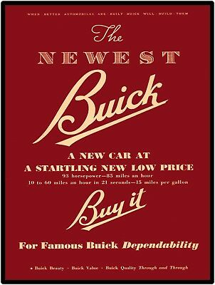 """Classic Buick Automobiles Vtg. Look 9 x 12"""" Repro Aluminum Sign Free Shipping"""