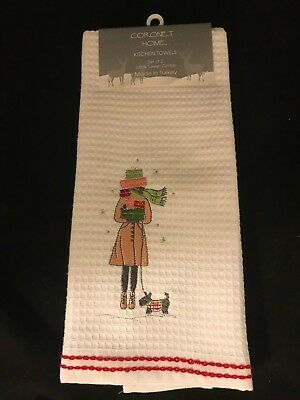 Pair of Kitchen Towels Embroidered with Woman Walking Her Scottie Dog