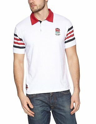 MENS SMALL Official ENGLAND RFU Rugby Jersey Striped Polo Shirt Top T