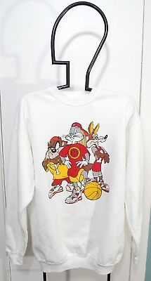 Vintage Looney Tunes Taz Bugs bunny wiley coyote Basketball crew white size L