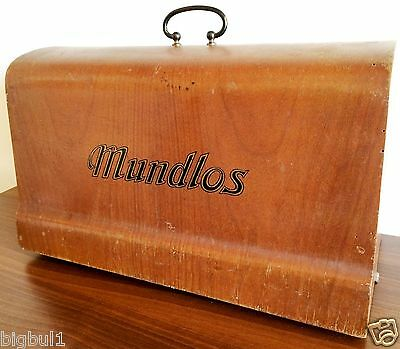RARE Antique MUNDLOS Original VICTORIA Sewing Machine Wooden Lid Cover Case Lock