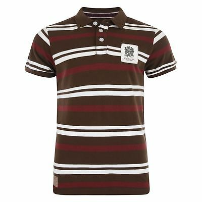SMALL Mens Official ENGLAND RFU Rugby 1871 Pique Striped Polo Shirt Top T Brown