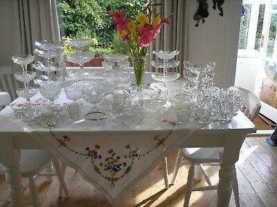 58 Items Of Beautiful Vintage Glassware...job Lot..wedding..christmas.