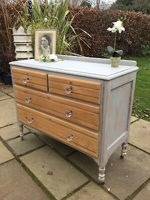 Edwardian Painted Chest Of Pine Drawers Distressed Shabby Chic Antique French