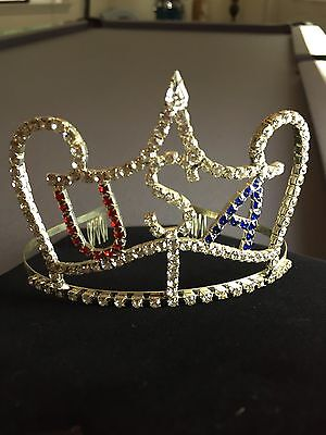 U.S.A. Rhinestone Pageant Crown Tiara  HALLOWEEN costume Very Pretty!!