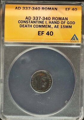 AD 337-340 Roman Constantine I Hand Of God Death Commem ANACS EF40