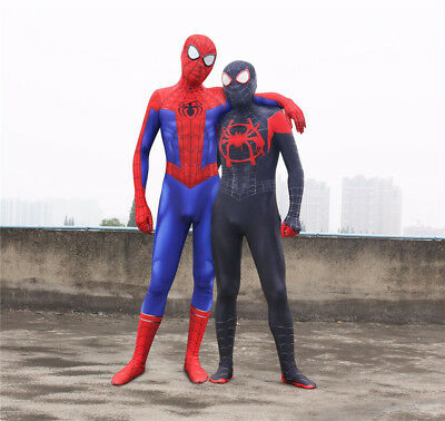 New Spiderman Costume Black Suit Adult Miles Morales Cosplay Homecoming Zentai
