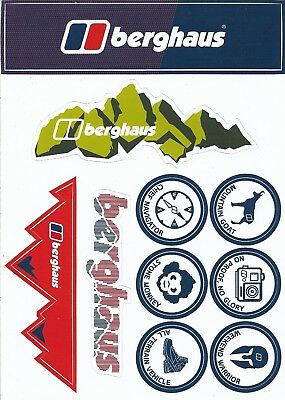A5 sheet of 10 x BERGHAUS Vinyl Stickers from the UK - MINT! Camping Hiking