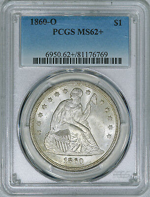 1860-O PCGS MS62+ Seated Liberty Dollar, choice original piece for your type set