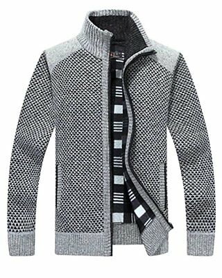 Men's Warm Knitted Cashmere Sweater Zipper Soft Stand Collar Long Sleeves