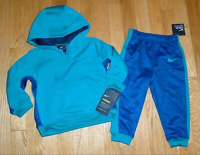 4b6a0078f NIKE THERMA BABY Boy 2 Piece Jogger Set Hoodie Pants Black Outfit 12 ...