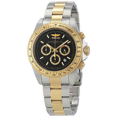 Invicta Speedway Chronograph Black Dial Two-tone Stainless Steel Men's Watch