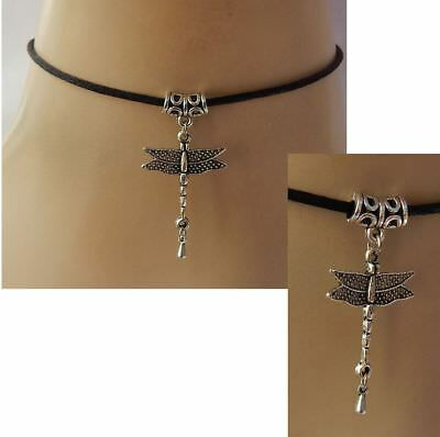 Dragonfly Choker Necklace Pendant Jewelry Women Silver Charm NEW Chain Black
