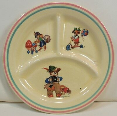 Vintage 1939 CUTE ANTHROPOMORPHIC ANIMALS Child's DIVIDED PLATE Crown Potteries